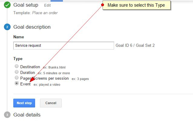 Goal setting in Google Analytics, step 2.