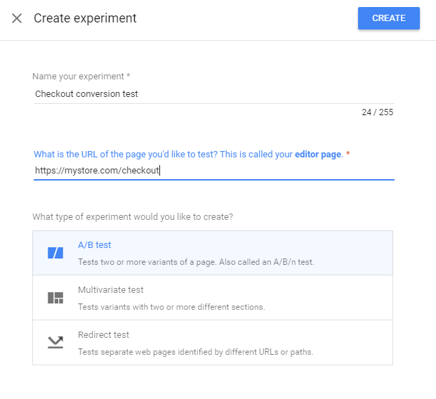 Google Optimize experiment creation